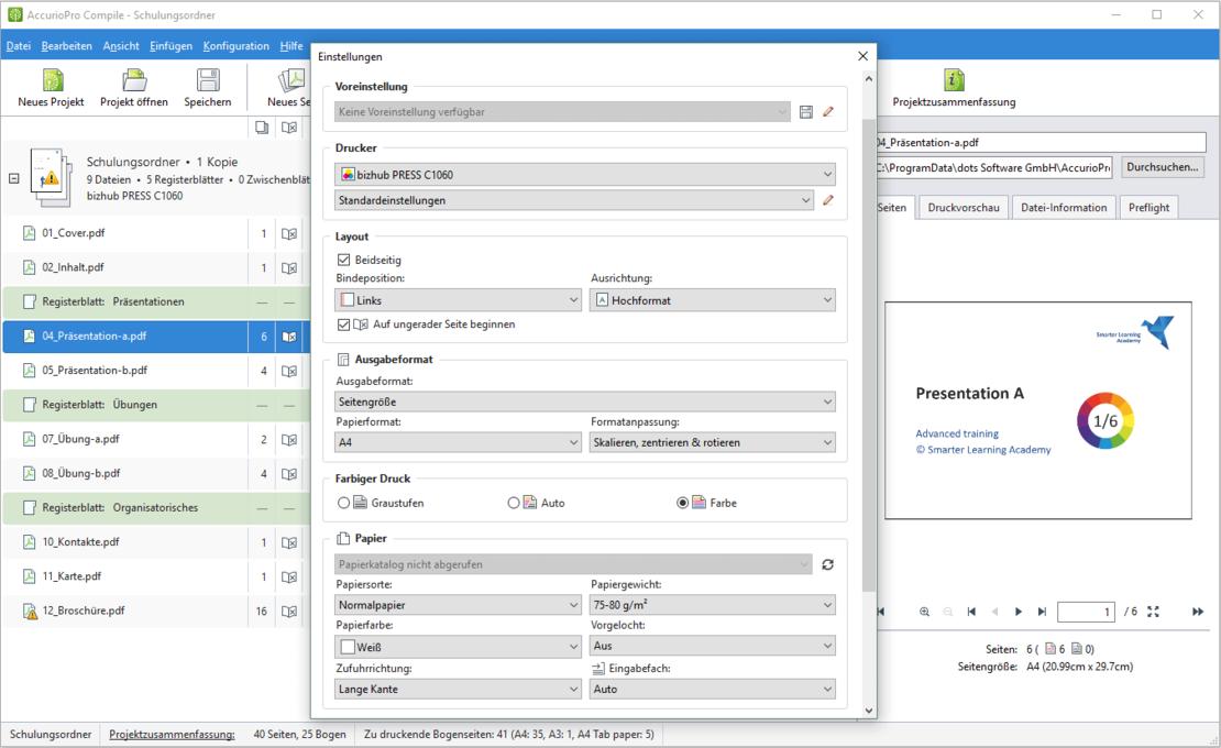 AccurioPro Compile: Die Druckeinstellungen können Sie für jede Datei einzeln anpassen