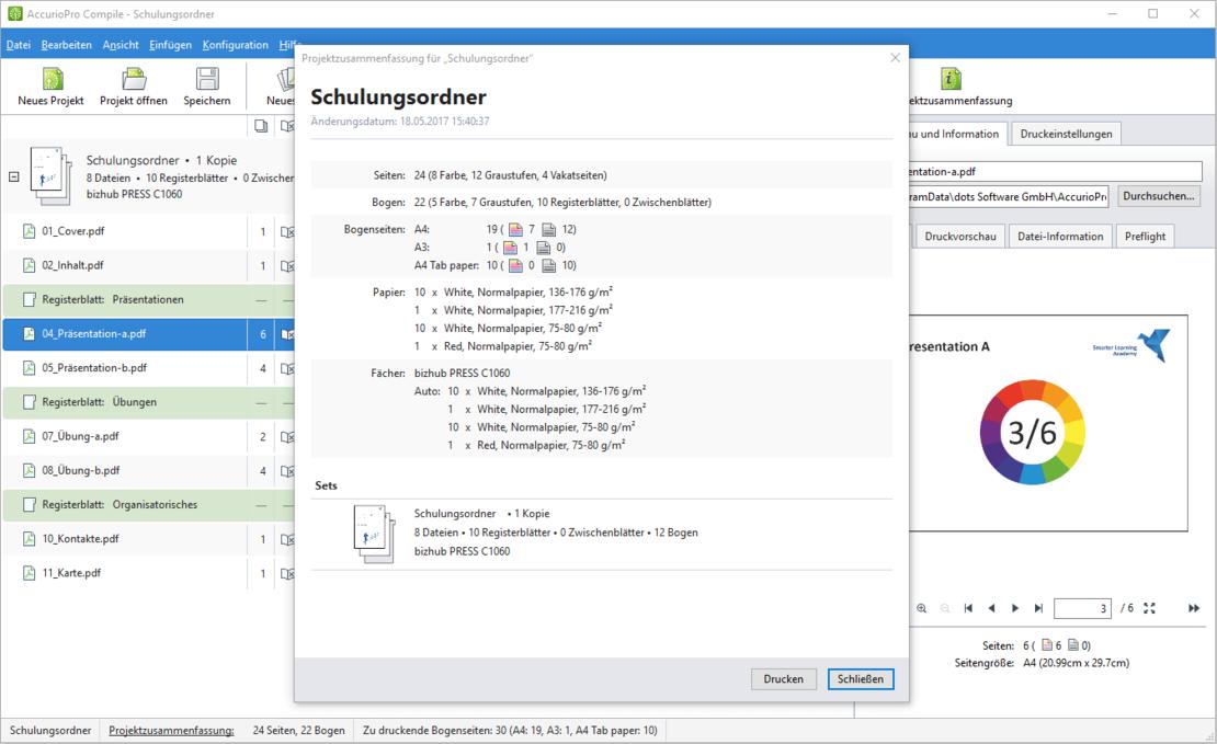 AccurioPro Compile: Die Projektzusammenfassung hilft Ihnen beim Planen der Produktion
