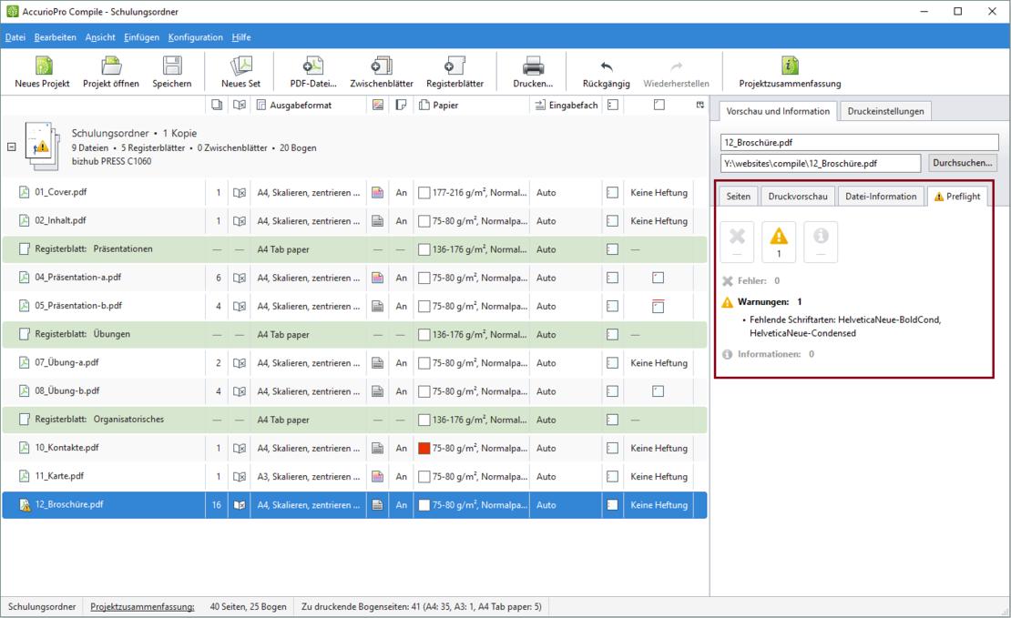AccurioPro Compile: Für jede Datei wird ein Preflight durchgeführt, der Sie auf mögliche Probleme beim Drucken hinweist