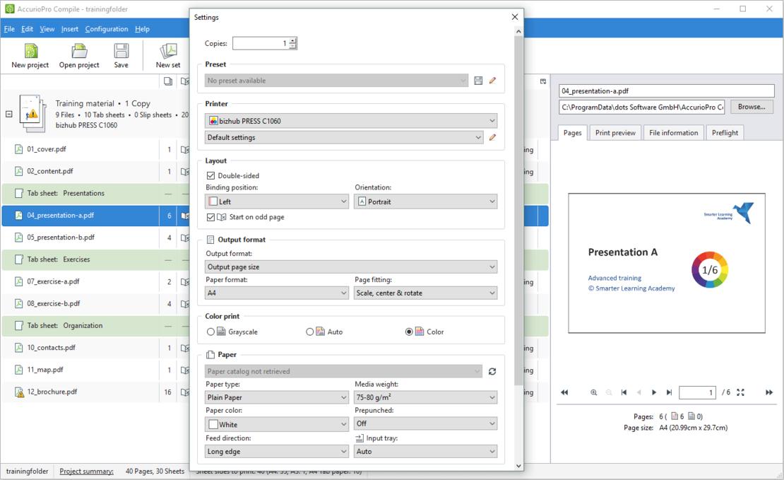 Вы можете настроить параметры печати для каждого файла отдельно